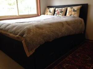 Queen black wooden bed, 4 large storage drawers, modern headboard Harrington Greater Taree Area Preview