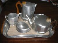 Picquot Ware (1960's); Tray, Teapot, WaterJug, Crem/Milk Jug and Sugar Bowl