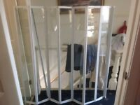 fully framed white 7 piece folding shower screen 1450 long and 1420 height in very good condition