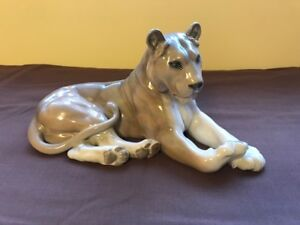 ROYAL COPENHAGEN LARGE LION LIONESS FIGURINE #804