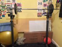 Weight Squat Rack, Bar + weights