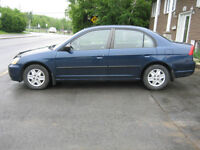 2003 Honda Civic berline air,antirouille,écono,fiable,bon pneus