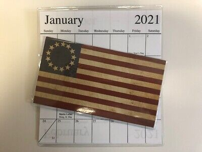 Calendar With Pockets ( 1-2020-2021 AMERICAN FLAG WITH CIRCLE STARS 2 Year  Pocket Calendar)