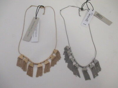 Nordstrom Treasure & Bond Chain Fringe Necklace NWT $49.00 SILVER GOLD Set of 2
