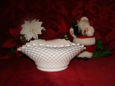 Westmoreland Milk Glass Hobnail Console Fruit Banana Boat bowl