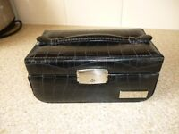New Black Faux Leather Jewellery Box with Keys.