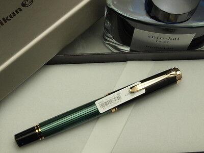 "Pelikan souveran M400 Black & Green F-nib and one Pilot Bottled Ink ""Iroshizuku"""