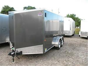 2016 7X14 V-Nose Enclosed Trailer with barn door (Screwless) London Ontario image 2