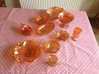 Selection of Orange Carnival Glassware
