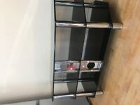 3 tier glass and metal tv stand