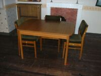 Dining table (extending,) and 4 chairs (Schrieber)