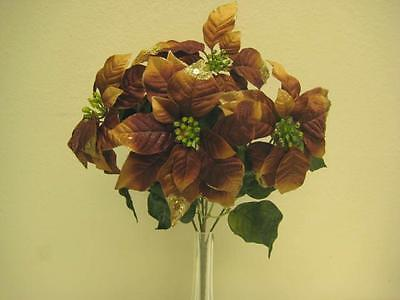 COPPER Christmas Poinsettia Bush Glitter 5 Artificial Flowers 18