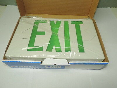 - LED Plastic Exit Sign 120V/277V White w/Green Letters 1 or 2 Sided Dual Circuit