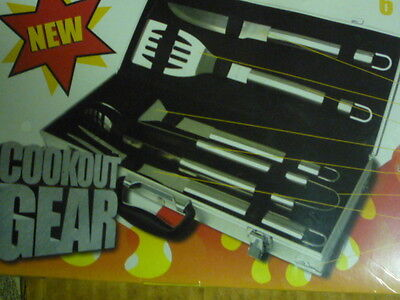 new in box 6 pieces heavy gauge stainless steel BBQ barbecue set gear (6 Piece Heavy Gauge)