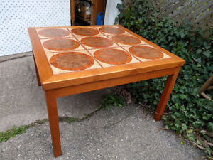 Vintage Retro teak and tile square coffee table