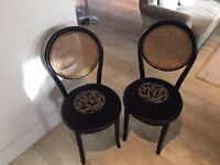 Oriental style set of 2 chairs black