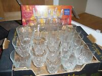 30 various crystal glasses flutes sherry wine etc some new - clearing out £12 the lot southbourne