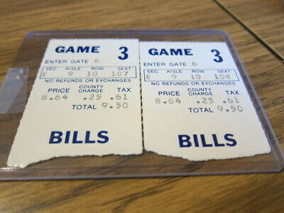 2-1976 Ticket Stubs Buffalo Bills vs. Cleveland Browns 09/03/1976 Pre-season
