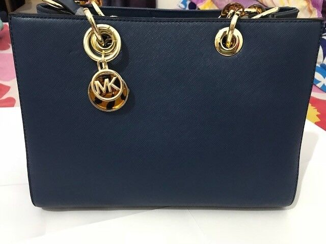 225eef94baaf ... coupon michael kors cynthia saffiano leather satchel blue color new  with tag c2664 fe1b4