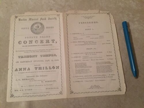 ANNA THILLON CONCERT BROCHURE 1852 ! 168 years old ! BOSTON MUSICAL FUND SOCIETY