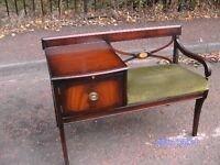 Vintage Retro 60s 70s Mahogany Telephone Seat Table By Chippy Heath Furniture