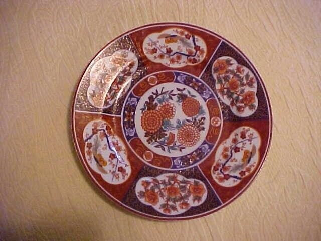 IMARI PLATE, ORIENTAL FLOWERS AND BIRDS DESIGN, UNMARKED