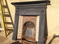 Victorian original cast iron fireplace, surround & mantle with tiles and grate