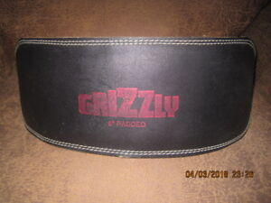 "GRIZZLY 6"" HIGH-BACKED,PADDED LEATHER WEIGHTLIFTING  BELT"