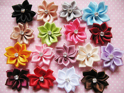 40 satin ribbon flowers  Appliques Craft DIY Wedding-U pick R004-1(FREE SHIP) - Diy Ribbon Flowers