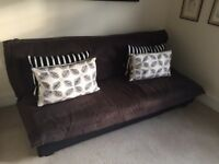 Sofa Bed 4' brown 'suede' hardly used
