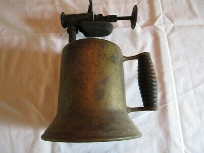 Vintage Antique Brass Gas/Kerosene Blow Torch with Wood Handle