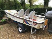 Dory 13ft Boat Dell Quay with 40 hp Mariner and trailer