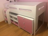 Julian Bowen Kimbo Pink Cabin Bed with Pull Out Desk & Storage