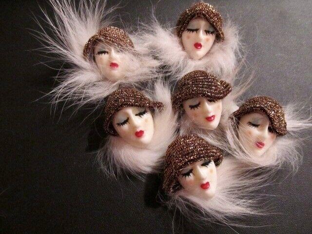 VtG LOT Art Deco Resin Rabbit Fur Painted Flapper Lady Faces Glittery Hats PINS