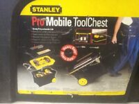 STANLEY PRO TOOL CHEST ON WHEELS PLUS CANTALEVER TOOLBOX & TOOLS