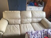 Cream leather 3seater sofa