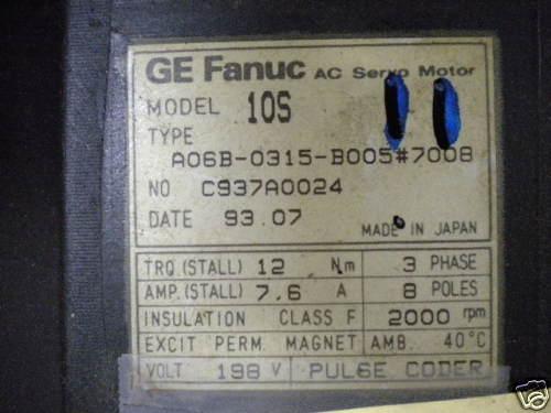 GE FANUC A06B-0315-B005 #7008 USED A06B0315B0057008