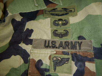 USGI Woodland BDU Shirt E-6 * 173rd Airborne Combat Jump Wings * OIF GWOT