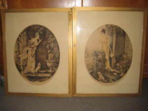 2 dessins (eau forte) signés et titrés avec encadrement vitré