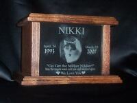 Handmade Pet Urns with your Pet's Photo and Info Engraved