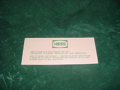 CHRISTMAS XMAS PLACEMENT PARTS 1967 HESS BATTERY CARD TOY TRUCKS  COLLECTIBLES