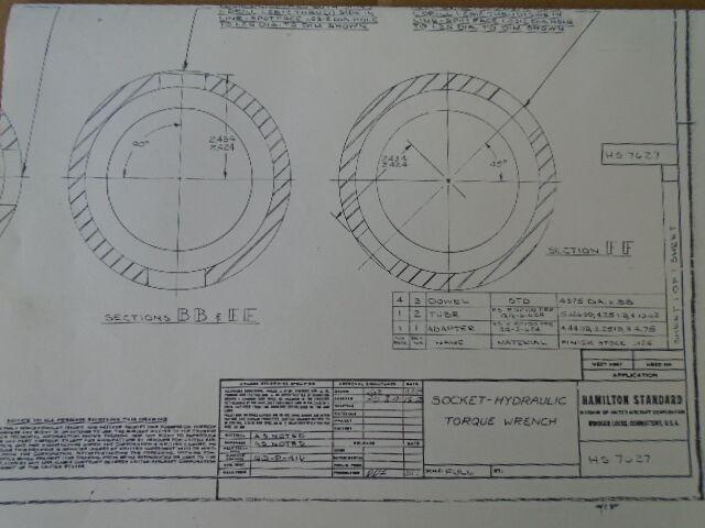 1 EA HAMILTON STANDARD HYDRAULIC TORQUE WRENCH SOCKET DRAWING #HS7627
