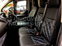 Ford Transit Custom Limited Trend Sports MK8 Van Seat Covers- Black Bentley + Blue Stitch