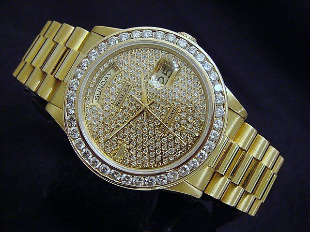 Men Rolex 18k Yellow Gold Day-date President W/ 5.25ct Pave Diamond Dial & Bezel
