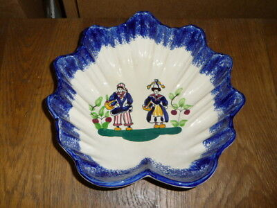 Vintage - ancienne coupe à fruit - plat - céramique - décor paysans normands