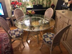 Glass dining table, rattan.