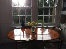 Extendable wooden table and 4 chairs