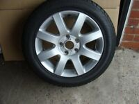16 x 6 alloy wheel refurbished new tyre fitted vw,audi,etc fitting.