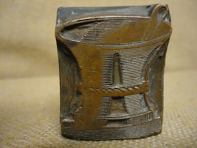 Antique Vtg Printers Letterpress Print Press Block Mortar Pestle Rx Druggist Pb2