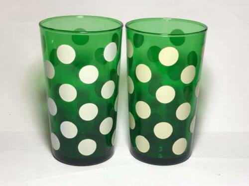 Vintage  Anchor Hocking Green Polka Dot Glasses